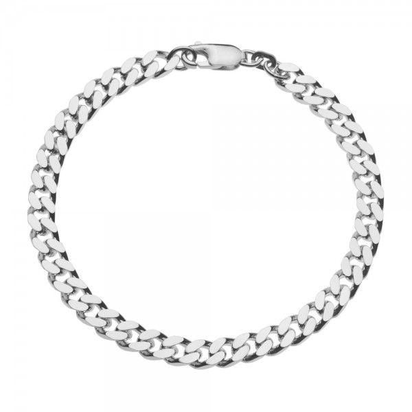 Zilveren gourmet armband voor heren met dikke schakels. Breedte 5,5 mm, lengte 21 of 22 cm.