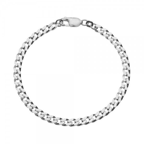 Zilveren gourmet armband voor heren met dikke schakels. Breedte 4,5 mm, lengte 19 of 20 cm.