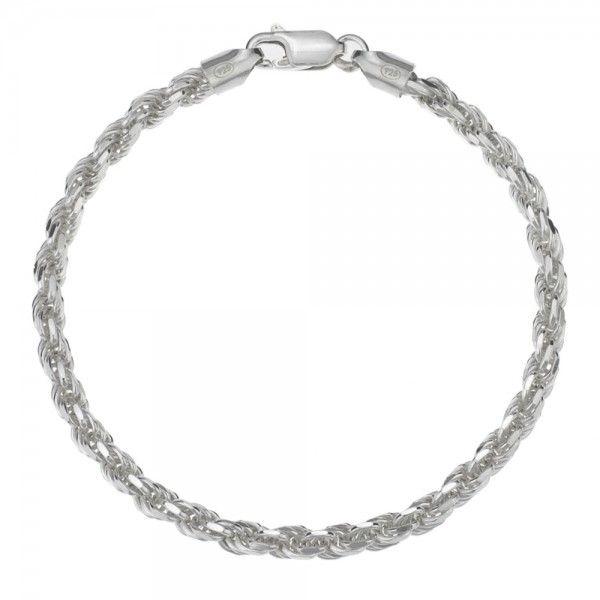 Koord armband van 925 zilver met geslepen schakels, breedte 4 mm. Alle lengtematen mogelijk!