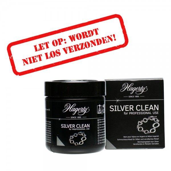 Klein potje met vloeistof voor het schoonmaken van zwart of dof geworden zilver