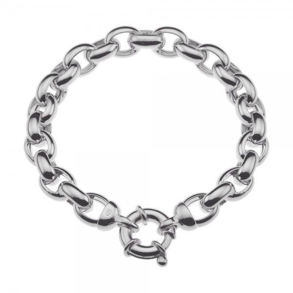 Zilveren jasseron armband met ovale schakels. 9 mm breed, 19 of 20 cm lang