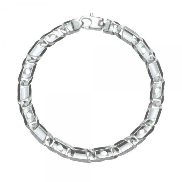 Zilveren Valkenoog armband met plaatjes voor heren. Uit voorraad leverbaar in de lengtes 20 en 21 cm.