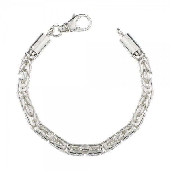 Zilveren konings armband met ronde schakels van 6 mm breed. Afgeprijsd!