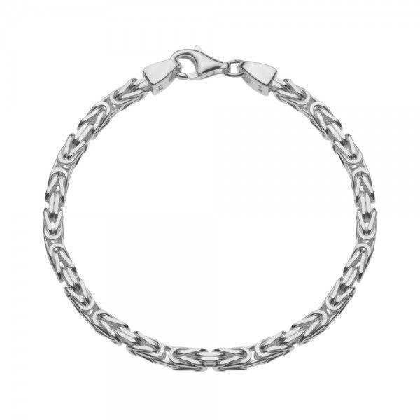 Zilveren konings armband met vierkante schakels van 4 mm breed, 19,5 t/m 21,5 cm lang