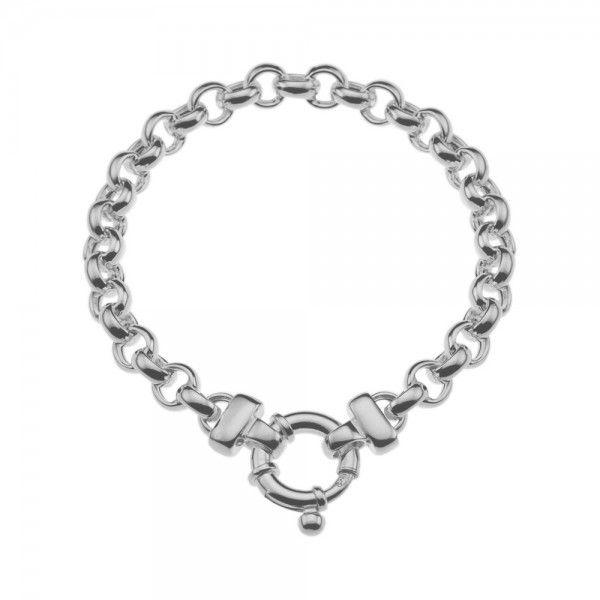 Zilveren jasseron armband met ronde schakels. 6,5 mm breed, 18 of 19 cm lang