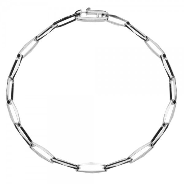 Zilveren CFE armband van 4 mm breed zonder ogen tussen de schakels, 19 cm lang.