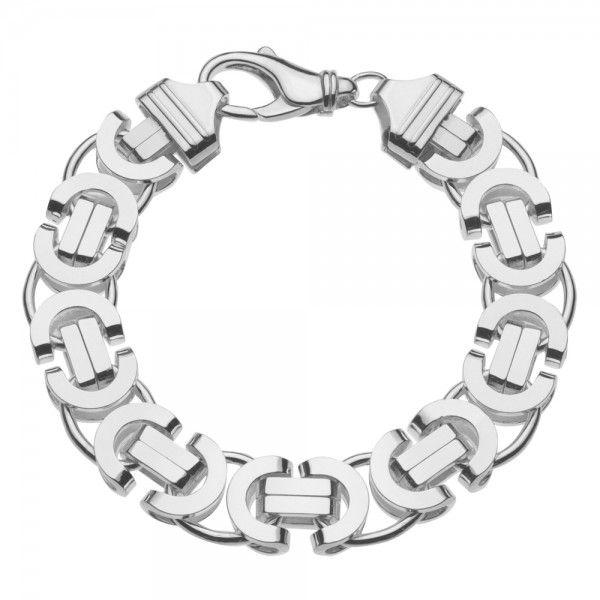 Zilveren konings armband met platte schakels van 14 mm breed. Elke lengte mogelijk