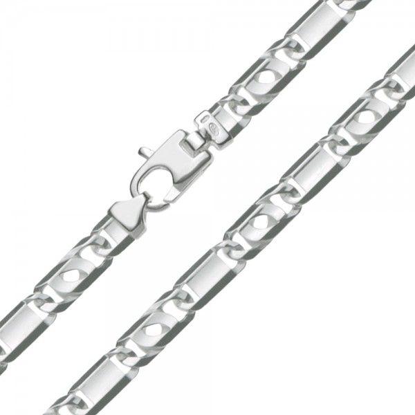 Zilveren Valkenoog ketting met plaatjes voor heren. Uit voorraad leverbaar in de lengte 50 cm.