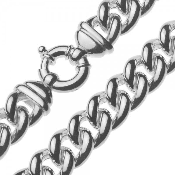 Zilveren gourmet ketting voor dames met groot rond slot. Breedte 17 mm, lengte 45 cm.