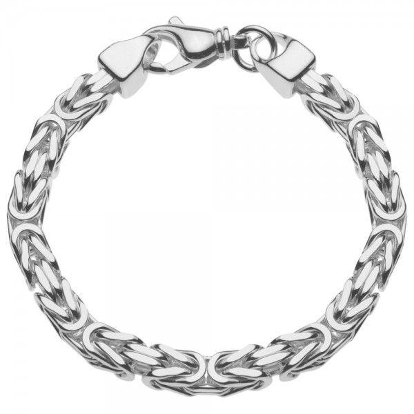 Zilveren konings armband met vierkante schakels van 7 mm breed, 22,5 of 24 cm lang