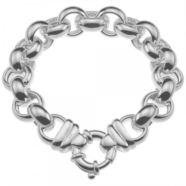 Zilveren jasseron armband met ronde schakels. 14 mm breed, 20, 22 of 24 cm lang