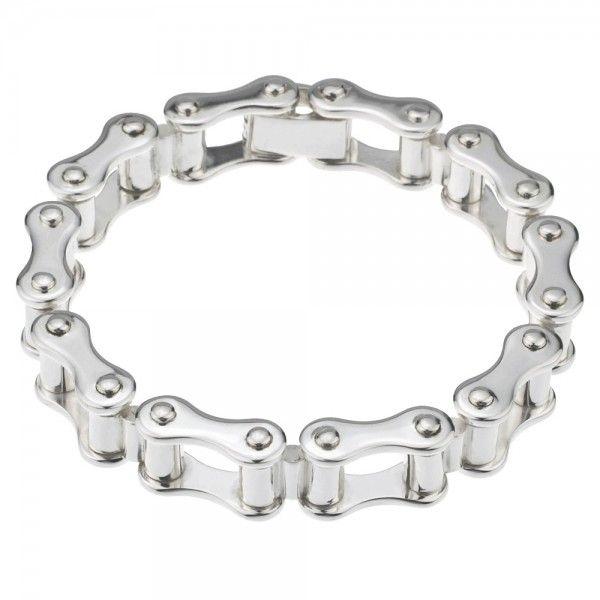 Armband van fiets-/motorketting, met klapslot. De armband is gemaakt van massief eerste gehalte zilver (925/1000) en voorzien van bijbehorend wettelijk verplicht zilverkeurmerk.