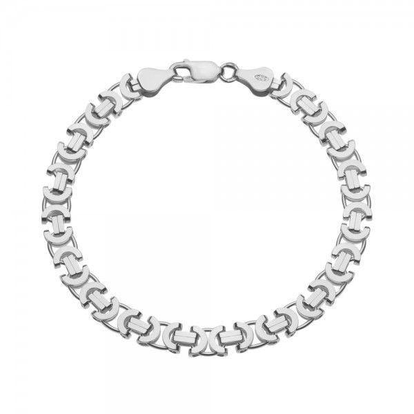 Zilveren konings armband met platte schakels van 6 mm breed. Elke lengte mogelijk