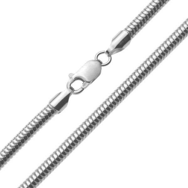 Zilveren snake chain van 4 mm breed en 45, 50 of 60 cm lang.