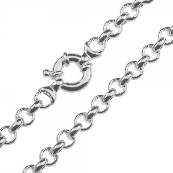 Zilveren jasseron ketting met ronde schakels. 7 mm breed, 45 of 50 cm lang.