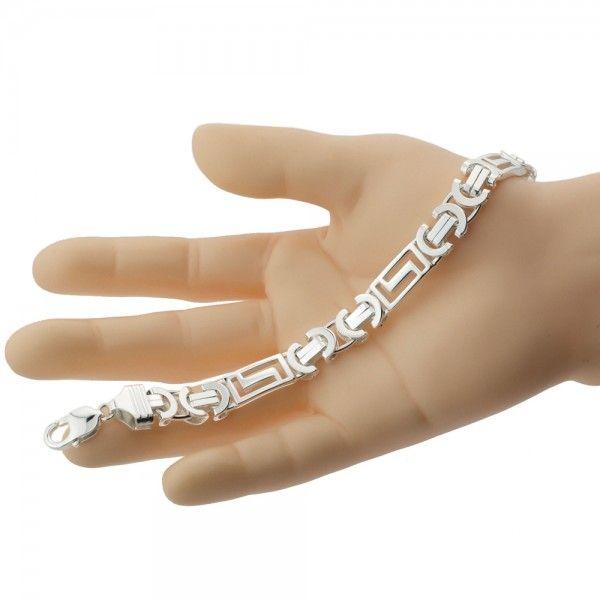 Zilveren konings armband van 11 mm breed met 3 platen in de vorm van een doolhof, 20,5 cm, 22 cm of 23,5 cm lang.