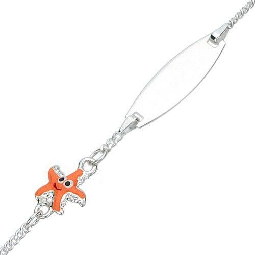 Plaatarmbandje voor kinderen van 925 zilver met oranje bedel in de vorm van een zeester
