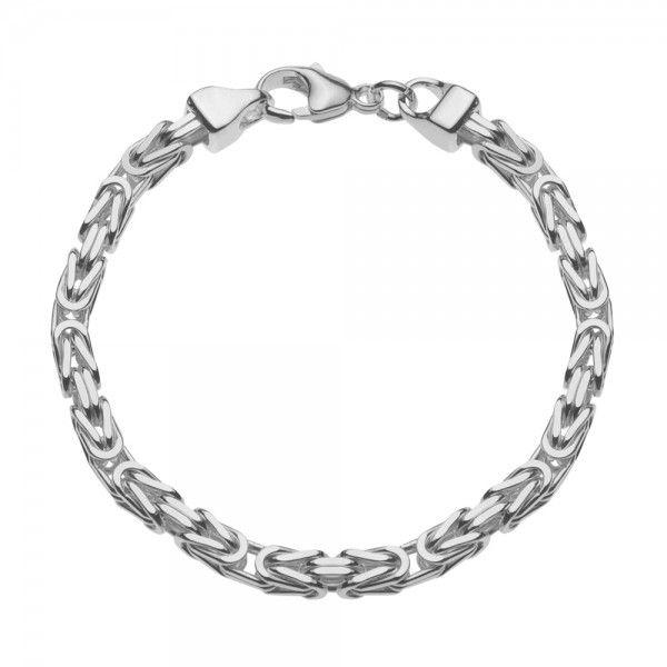 Zilveren konings armband met vierkante schakels van 5 mm breed, 21 cm, 22,5 cm en 23 cm lang