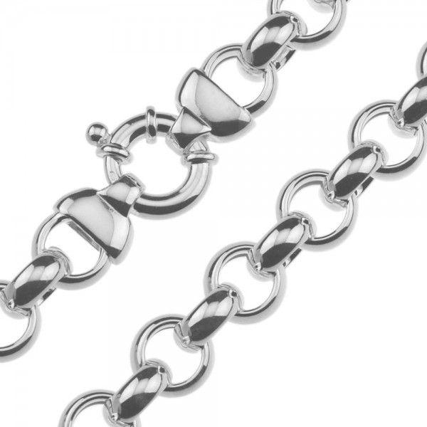 Zilveren jasseron ketting met ronde schakels. 13 mm breed, 45 of 50 cm lang.