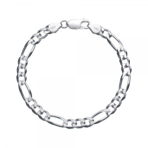 Massief zilveren figaro armband van 5,5 mm breed. Speciaal voor u op lengte gemaakt, dus alle lengtes mogelijk!