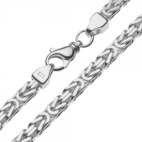 Zilveren konings ketting met vierkante schakels van 7 mm breed, 60, 70 of 80 cm lang