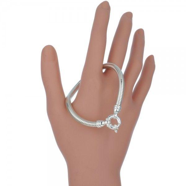 Zilveren snake chain armband van 5,0 mm breed met mooie grote veerring. Op lengte voor u gemaakt.